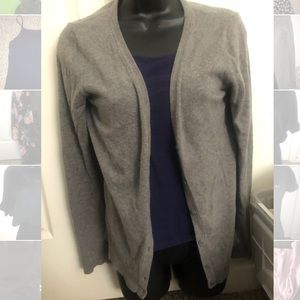 Longer gray cardigan button up sweater